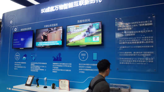 The Qualcomm display area at the 2017 Global Mobile Internet Conference at China National Convention Center in Beijing