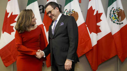 Chrystia Freeland, Canada's minister of foreign affairs, left, shakes hands with Ildefonso Guajardo Villarreal, Mexico's secretary of economy, before a bilateral meeting in Toronto, Ontario, Canada, on Monday, Jan. 22, 2018.