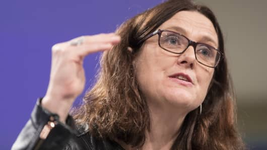 European Trade Commissioner Cecilia Malmstroem speaks at EU headquarters on March 7, 2018 in Brussels, Belgium.