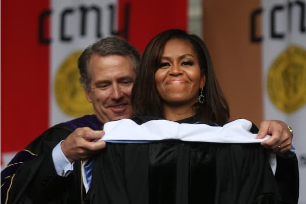 First lady Michelle Obama is presented with an honorary doctorate of humane letters by James Milliken, the chancellor for the City University of New York , while delivering the commencement speech at City College on June 3, 2016 in New York City. This was the final commencement speech of her tenure as first lady.