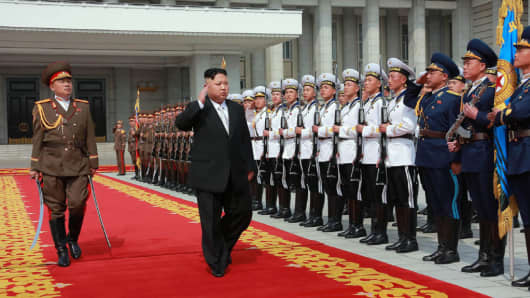 North Korean leader Kim Jong Un at a military parade in Pyongyang marking the 105th anniversary of the birth of his grandfather, the late North Korean leader Kim Il Sung.