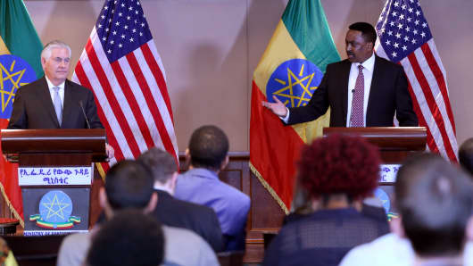 U.S. Secretary of State Rex Tillerson (L) and Ethiopia's Minister of Foreign Affairs Workneh Gebeyehu hold a joint press conference following their meeting in Addis Ababa, Ethiopia, on March 08, 2018.