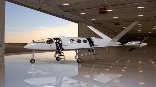 A rendered image of the Eviation Alice. An electric aircraft designed to take 9 passengers up to 650 miles at 240 knots.