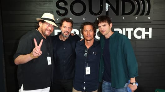 From left to right, Salesforce CEO Marc Benioff, Guy Oseary, Matthew McConaughey and Aston Kutcher.