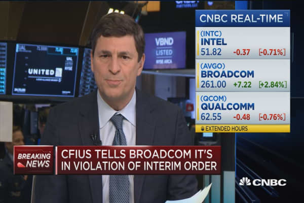 Appears CFIUS 'not happy' with  Broadcom, says CNBC's David Faber