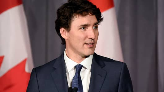 Prime Minister Justin Trudeau of Canada. In 2017 investments into Canada plunged to their lowest levels since 2010, according to Statics Canada.