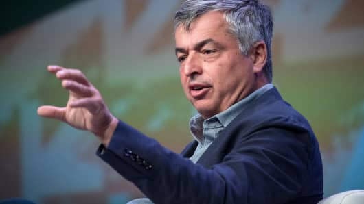 Eddy Cue, senior vice president of internet software and services at Apple Inc., speaks during a keynote session at the South By Southwest (SXSW) conference in Austin, Texas, on Monday, March 12, 2018.