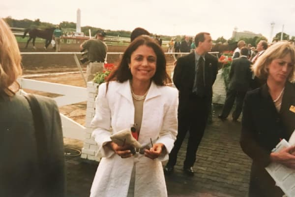 A young Bethenny Frankel at the racetrack