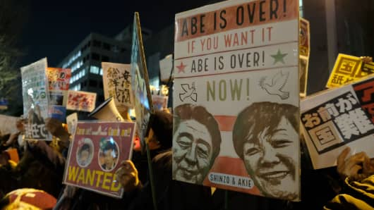 Protesters stage an anti-Abe demonstration near the prime minister's official residence in Tokyo on March 12, 2018.
