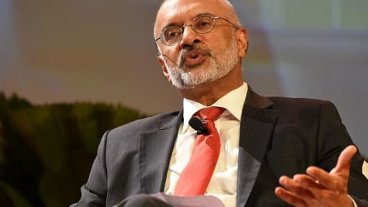 DBS CEO Piyush Gupta attending a conference session at DBS Asia Leadership Dialogue in Singapore on August 4, 2016.