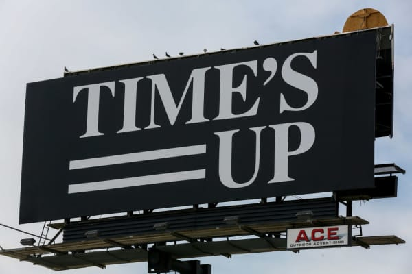 A Time's Up billboard on Sunset Boulevard, Los Angeles, CA