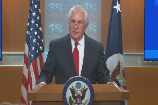 Rex Tillerson addresses the media after White House firing