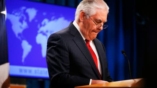 U.S. Secretary of State Rex Tillerson speaks to the media at the U.S. State Department after being fired by President Donald Trump in Washington, March 13, 2018.