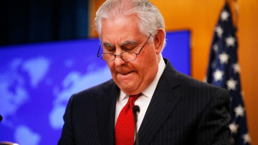 Secretary of State Rex Tillerson pauses while speaking to the media at the U.S. State Department after being fired by President Donald Trump in Washington, March 13, 2018.