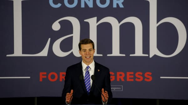 U.S. Democratic congressional candidate Conor Lamb speaks during his election night rally in Pennsylvania's 18th U.S. Congressional district special election against Republican candidate and State Rep. Rick Saccone, in Canonsburg, Pennsylvania, March 13, 2018.