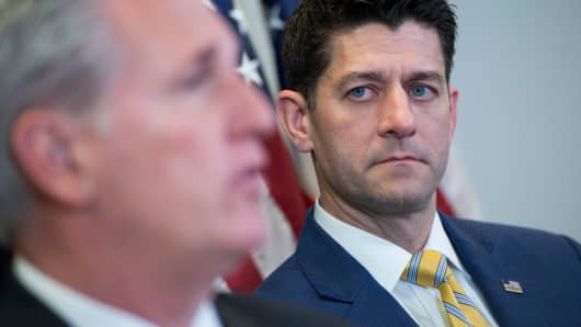 Speaker of the House Paul Ryan, R-Wis., right, and House Majority Leader Kevin McCarthy, R-Calif.