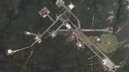 A satellite image of the jungle launchpad of Alcantara in the northeastern state of Maranhao, Brazil.