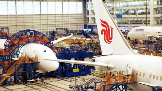 Boeing Dreamliner 787 Air China planes sit on the production line at the company's final assembly facility in North Charleston, South Carolina.