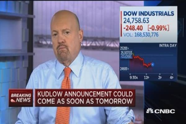 Cramer: Kudlow may have to embrace Trump's aggressive stance on China