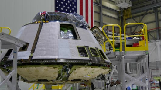 A Boeing Starliner capsule near completion.