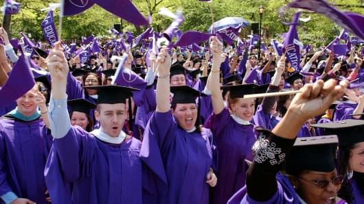 New York University students cheer