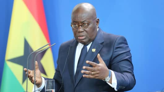 Ghanaian President Nana Akufo-Addo at a press conference in the Federal Chancellery, Berlin, Germany, on February 28, 2018.