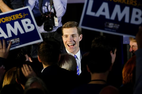 Democratic congressional candidate Conor Lamb is greeted by supporters during his election night rally in Pennsylvania's 18th U.S. Congressional district special election against Republican candidate and State Rep. Rick Saccone, in Canonsburg.