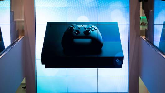 Microsoft's Xbox One X console.