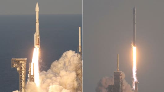 United Launch Alliance Atlas V Rocket (l) and SpaceX Falcon 9 Rocket launch (r).
