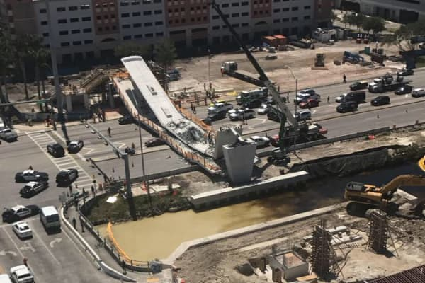 Bridge collapse at Florida International University, March 15, 2018.
