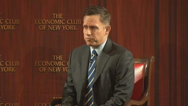 Tech investor Peter Thiel speaks at the New York Economic Club
