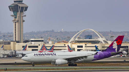 A Hawaiian Airbus A330 at the Los angeles International Airport on July 30, 2017.