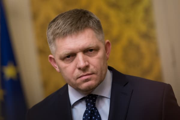 Slovak Prime Minister Robert Fico looks on during a press conference in Bratislava on March 14, 2018. Slovak Prime Minister Robert Fico announced Wednesday, March 14, 2018, his resignation, demanded by the opposition, following the assassination in February of the investigative journalist Jan Kuciak.
