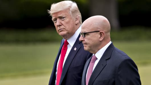 President Donald Trump, left, and H.R. McMaster, national security advisor, walk toward Marine One on the South Lawn of the White House in Washington, D.C., June 16, 2017.