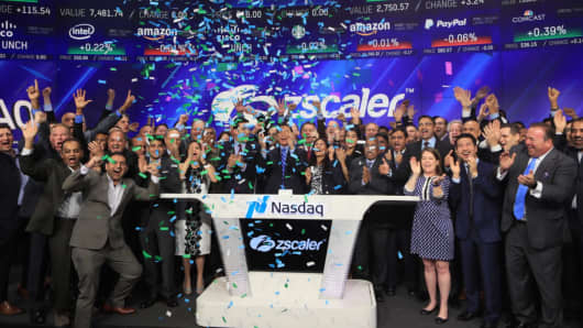 Zscaler rings the opening bell at the Nasdaq exchange in New York, March 16, 2018.
