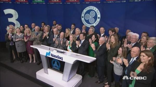 The Grand Marshal of the St. Patrick's Day Parade visits the Nasdaq MarketSite Friday
