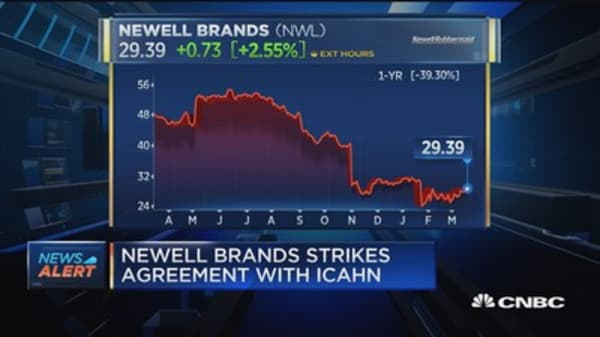 Newell Brands strikes deal with Icahn
