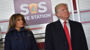 President Donald Trump and First Lady Melania Trump visit Manchester Central Fire Station in Manchester, New Hampshire on March 19, 2018.