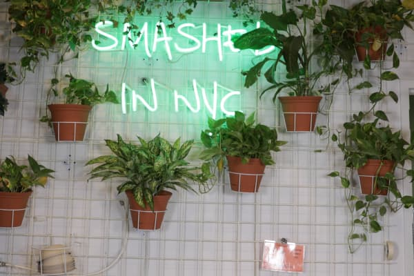A neon sign in Avocaderia