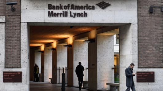 The Bank of America Merrill Lynch offices in the financial district, also known as the Square Mile, on January 24, 2017 in London, England.
