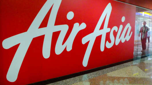 The Air Asia commercial sign is seen at Kuala Lumpur sentral on January 24, 2018.