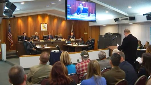 "Public comment period in the Los Alamitos City Council on Monday before they voted 4-1 to opt out of the California ""sanctuary law."""