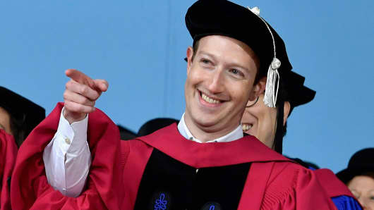 Facebook founder and CEO Mark Zuckerberg received an Honorary Doctor of Laws Degree from Harvard University at its 2017 366th Commencement Exercises on May 25, 2017 in Cambridge, Massachusetts.