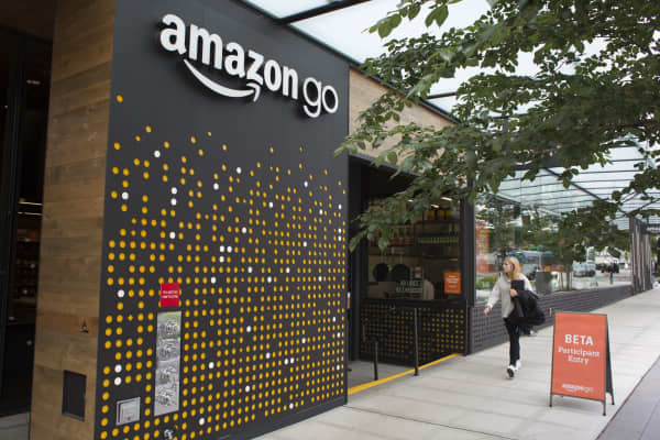 The Amazon Go grocery store at the Amazon corporate headquarters in Seattle, Washington.