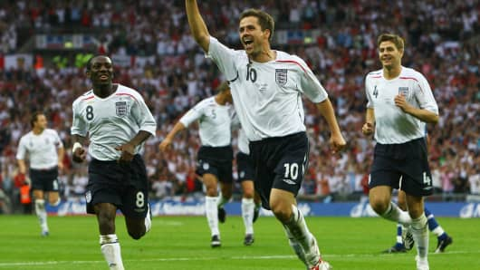 Michael Owen of England during a 2007 match.
