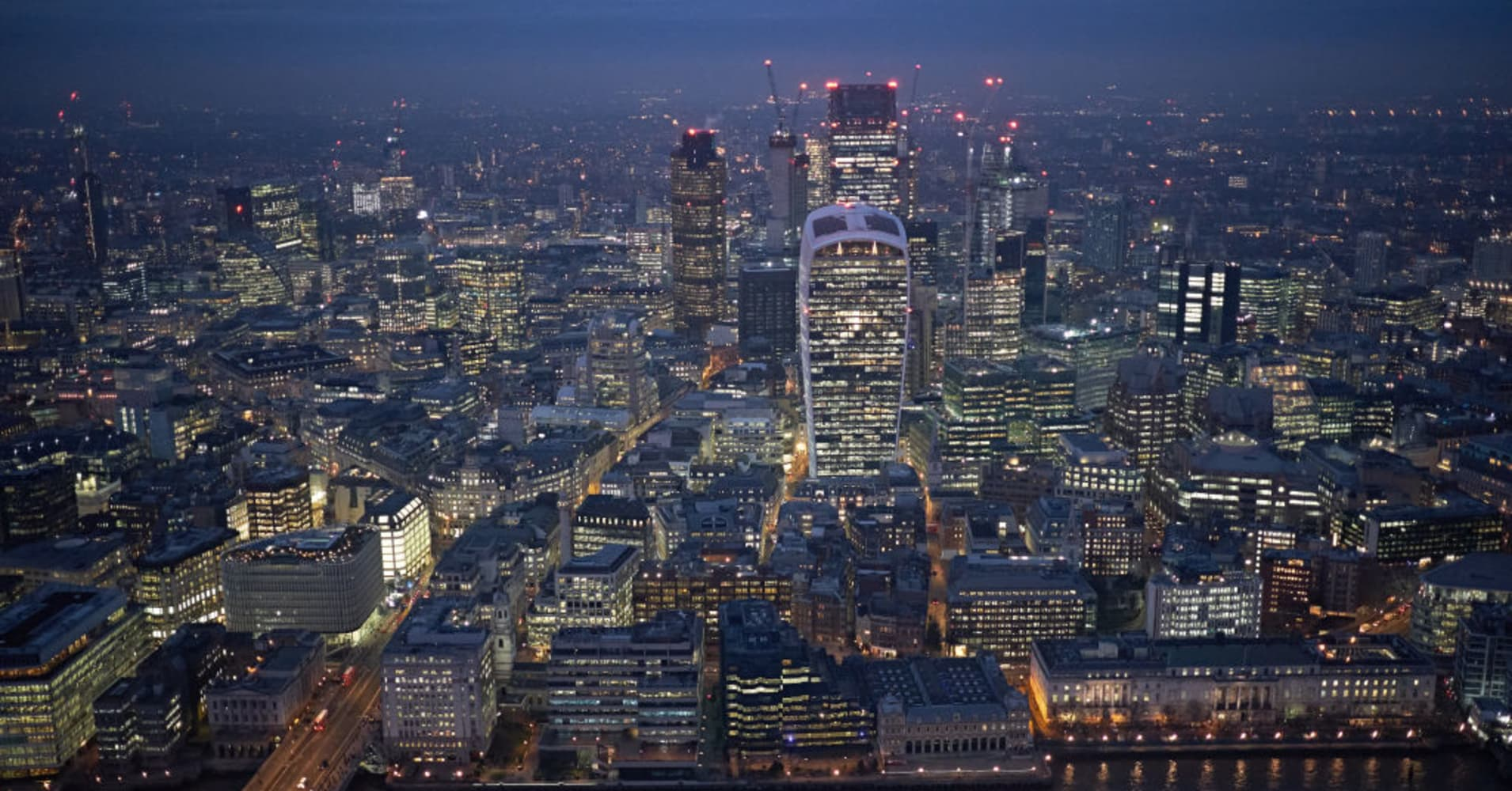 View of the City of London at dusk