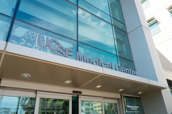 Sign at the entrance to the Mission Bay campus of the University of California San Francisco (UCSF) medical center in San Francisco, California.