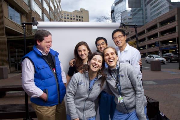 Harvard medical school professor and his students.