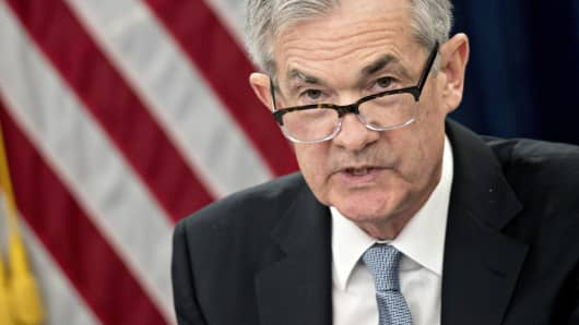 Jerome Powell, chairman of the U.S. Federal Reserve, speaks during a news conference following a Federal Open Market Committee (FOMC) meeting in Washington, D.C., U.S., on Wednesday, March 21, 2018.