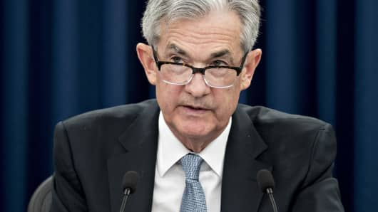 Jerome Powell, chairman of the U.S. Federal Reserve, speaks during a news conference following a Federal Open Market Committee (FOMC) meeting in Washington, D.C., on Wednesday, March 21, 2018.